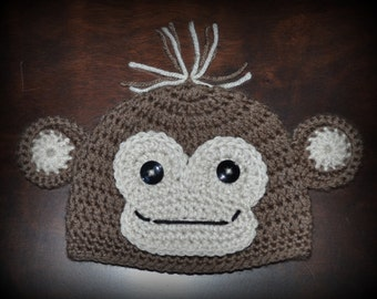 Crochet Monkey Baby Beanie Hat  Photo Prop Custom Made Boy Girl