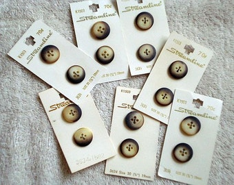 Medium size Brown and Beige Vintage Buttons on Cards, 6 buttons on 3 cards