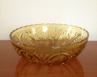 Vintage Amber Carnival Glass Fruit Bowl Candy Dish