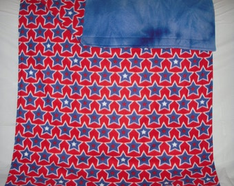 Pet Blanket - colorful patriotic red, white and blue stars fleece with reversible royal blue tie-dye fleece.