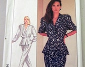 "1980s Jacket Top with Peplum, Pants, Skirt Sewing Pattern Simplicity 8431   Size 8 Bust 31.5"" UNCUT FF"