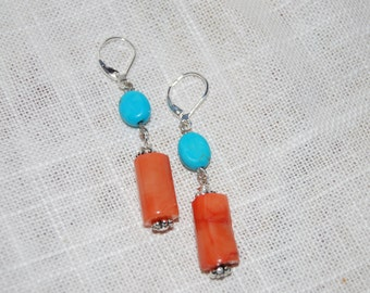 Coral Dangling Earrings Silver Plated Turquoise Coral Orange Beaded Earrings