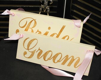 BRIDE - GROOM Chair Signs/Photo Prop/Xtra Fancy/Scrolls Damask/Great Shower Gift/Pink /Gold