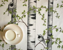 Tablecloth white birds birches grove Scandinavian Design , also table runner , napkins , curtains available, great GIFT