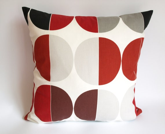 Pillow Cover White Burgundy Red Black Grey Circles Decorative