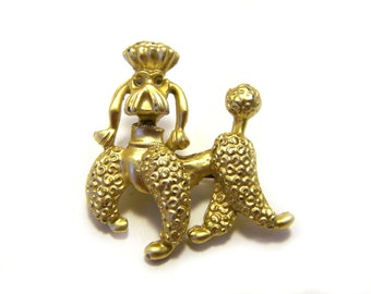 Vintage Gold Tone French Poodle Scatter Pin Brooch / Gift for Her / I269
