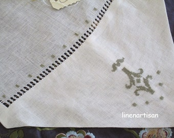 Embroidered Hemstitch linen curtain , Drawn-thread embroidery curtain, Sheer linen curtains