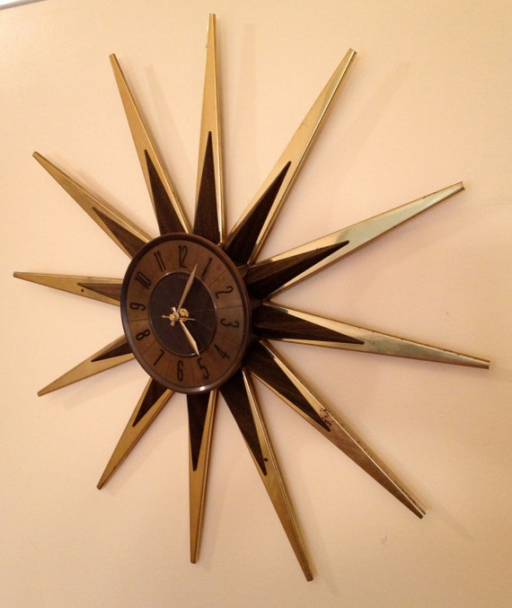 1960 39 s starburst wall clock mid century modern by elgan