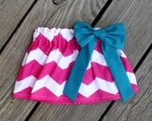 Hot Pink Chevron Teal Turquoise Bow Skirt - Baby Girl