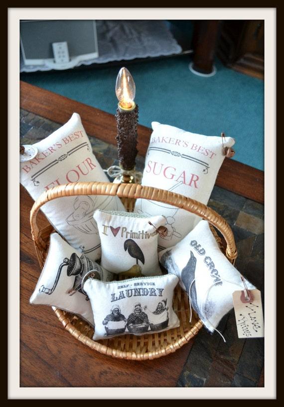 6 piece primitive burlap feed sack ornies by primitiveprairie for Burlap sack decor