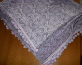 """Beautiful lilac 70's bedspread with small cotton balls leaf pattern 90""""x105"""" very fun and retro"""