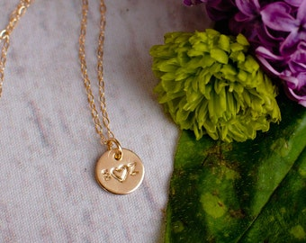 Couples Necklace - Two Initial Necklace with a Heart - Love Necklace - Tiny Gold initial Necklace