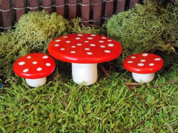 Gnome Garden: Miniature Fairy Garden Mushroom Style Table By