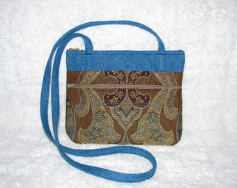 Small Purse Long Strap Gold, Brown, Blue Home Décor Fabric with Denim Accents and Strap - Womens Shoulder Bag