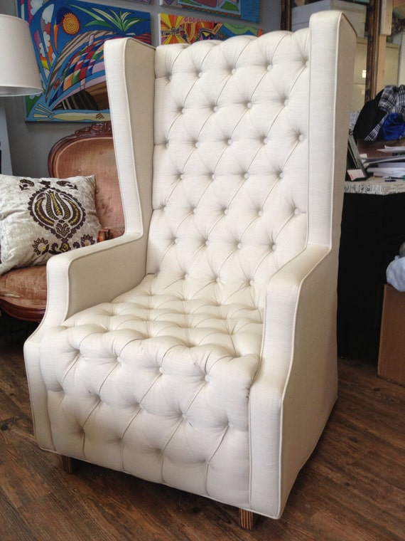 Items similar to Unique Modern Oversized Tufted Cream High ...