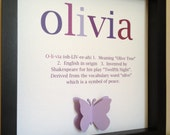 Name Art with definition, 3D Paper Art, perfect for new baby, nursery, baby shower and more.  Name meaning art