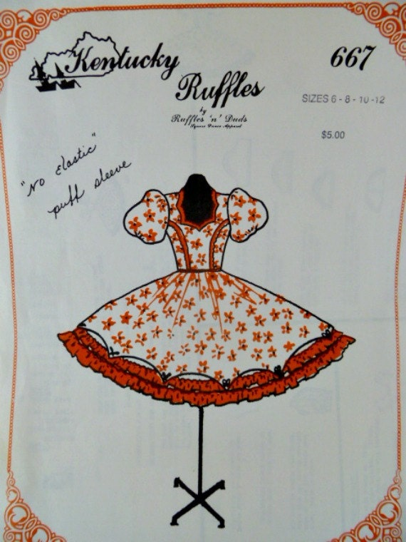 Square Dance Dress Pattern 667 by Kentucky Ruffles Full Skirt No Elastic Puff Sleeves Uncut Size 6 thru 12 p4z