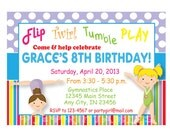 Gymnastics party Rainbow Birthday Invitation- Custom Digital File