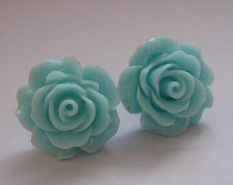 Blue Open Rose Earrings