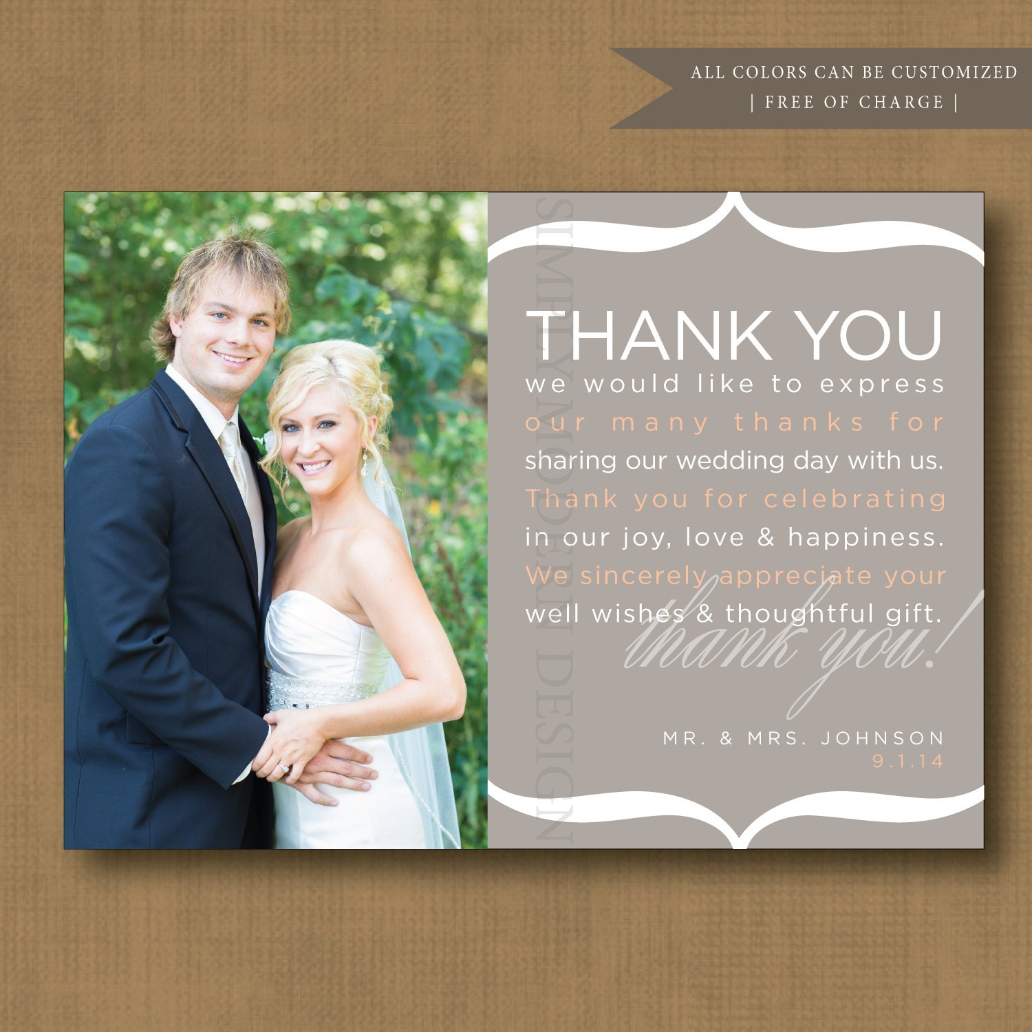 Thank You Note Wedding Thank You Card By SimplyModernDesignx