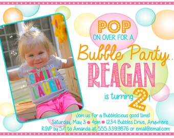 Bubble Birthday Party Invitation