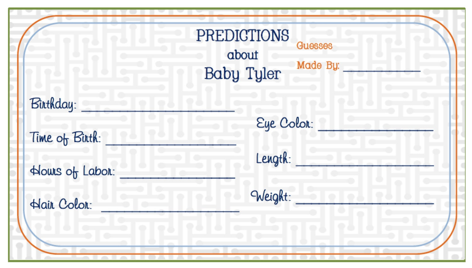 little man baby shower game card predictions for by sonreadesigns