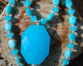 Bright Blue Chalcedony Necklace - 20 1/2 inches