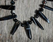 Black and White Striped Agate Spike Necklace- Length 18 inches