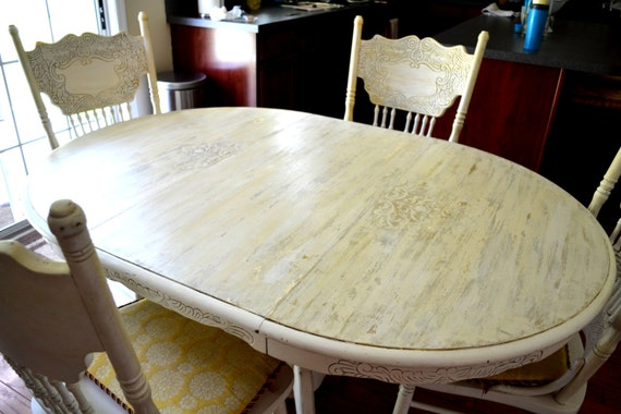 items similar to chalk paint country french dining room table and chairs shabby chic local pick up on etsy