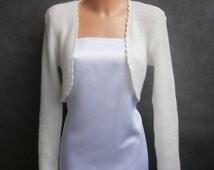 Lena - (Not only) Wedding bolero, sweater size - S/M/L,Ivory, long sleeves