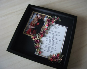 Paper Quilled Wedding Invitation & Picture Framed Under Glass