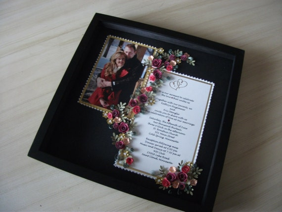 Paper Quilled Wedding Invitation Amp Picture Framed Under Glass