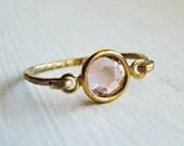 Romantic Peach Swarovski 14k Gold Ring