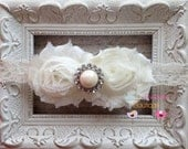 Ivory Double Flower Shabby Chiffon Lace Headband with Pearl Rhinestone Center - Baby Girl Headband -