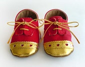 Baby Girl Shoes Toddler Red Canvas with Brogued Gold Leather Soft Sole Shoes