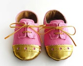 Baby Girl Shoes Bright Pink Canvas with Gold Brogued Leather Soft Sole Shoes Oxford Wingtips Wing tips