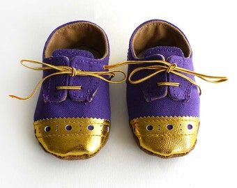Baby and Toddler Boy or Girl Shoes Purple Canvas with Gold Brogued Leather Soft Sole Shoes Oxford Wingtips Wing tips