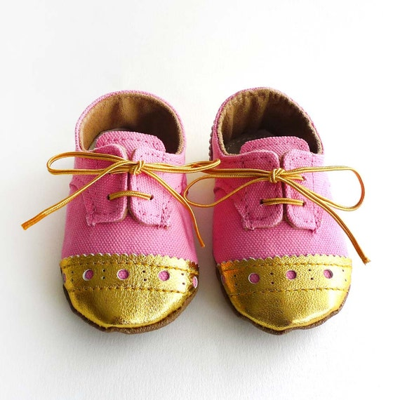 Baby Girl Shoes Bright Pink Canvas with Gold Brogued Leather