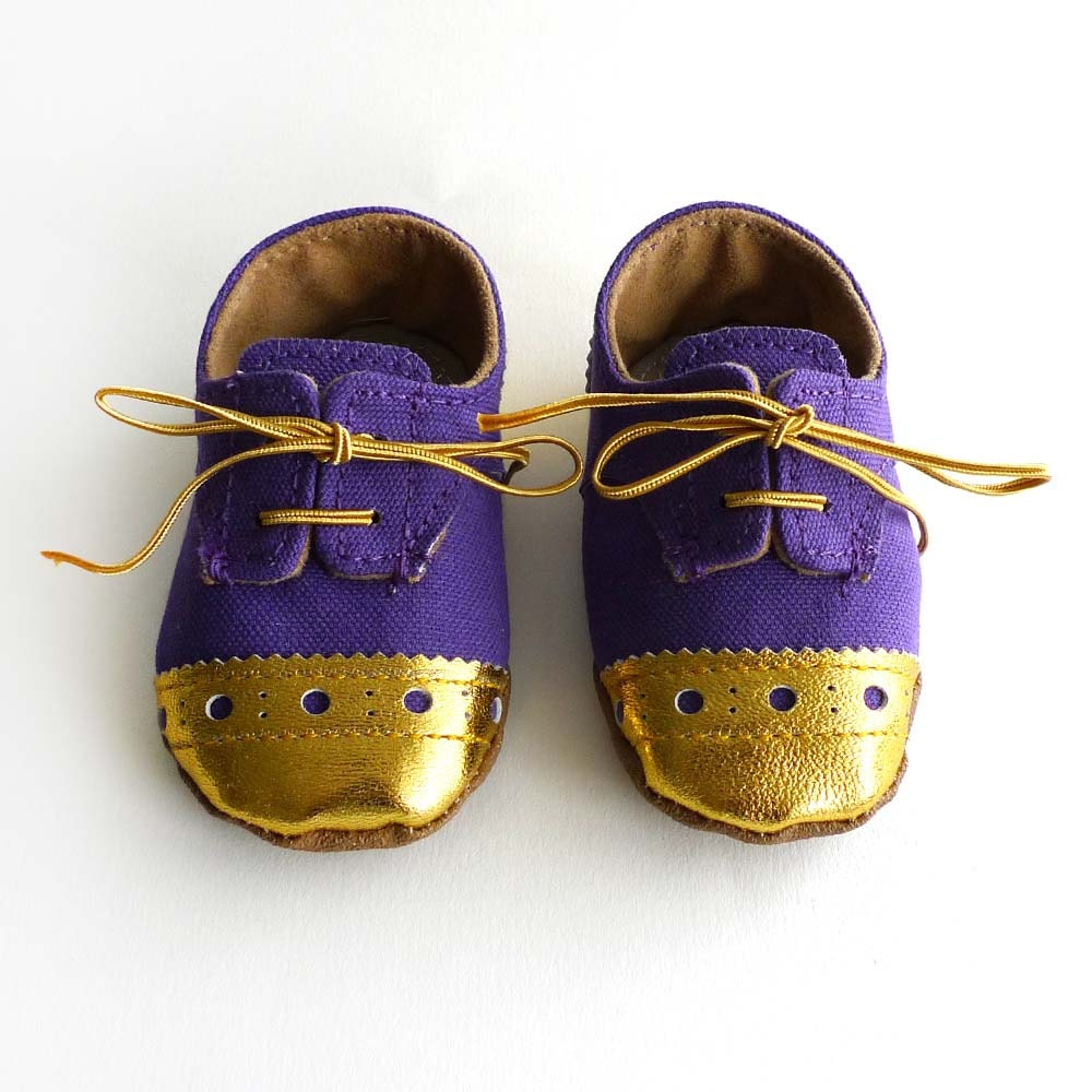 Baby and Toddler Boy or Girl Shoes Purple Canvas with Gold
