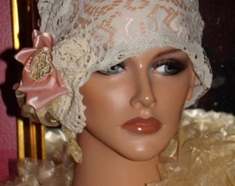 Off WhiteFlapper Hat Cloche  1920 style Personalized  Church Headdress