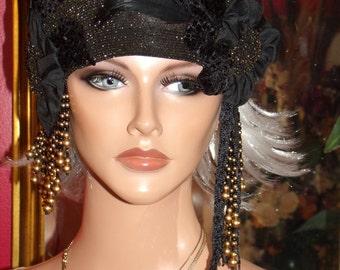 Flapper Hat Cloche 1920 Theme Personalized  Black Beaded  Headdress Millinery ArtWork