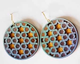 Geometric Star of David Earrings in Blue, Silver, Gold and Turquoise