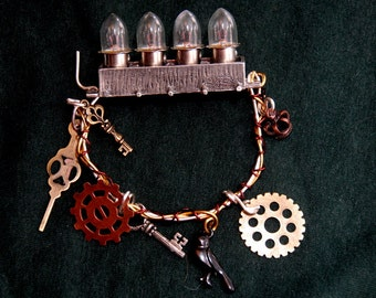 "Steampunk Large ""Let there be Light""  Victorian Gothic Metal Steampunk  bracelet"