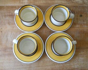 Dura Stone Mikasa Mandarin Gold Cups and Saucers