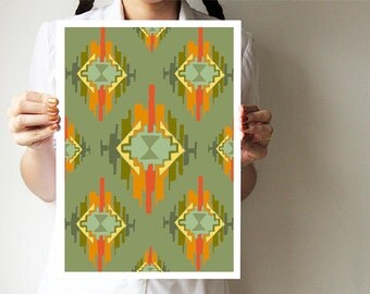 Ikat - Tribal print - Hand drawing base - Art poster - green orange - Geometric ohtteam
