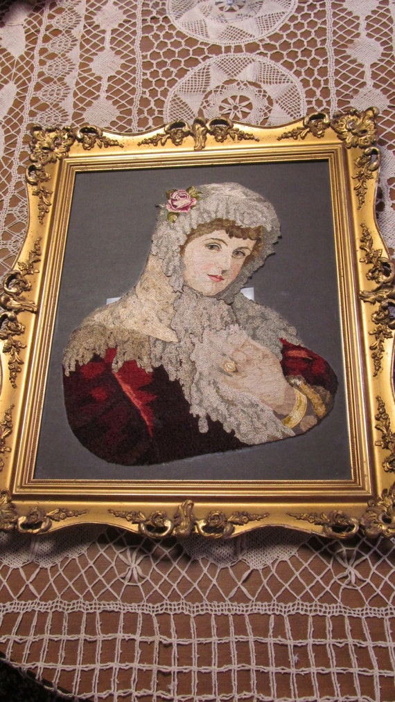 Antique victorian frame exquisite embroidered victorian for Victorian wall decor