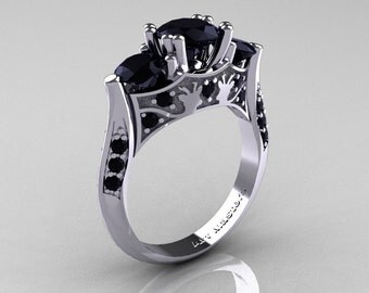 14K White Gold Three Stone Black Diamond Solitaire Wedding Ring Y230-14KWGBD