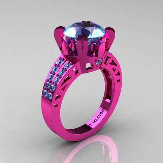 modern vintage 14k pink gold 3 0 ct blue topaz wedding ring