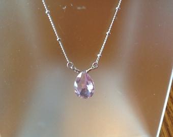"Vintage Avon Silver Tone 20"" Necklace with Pink tear Drop Pendant"