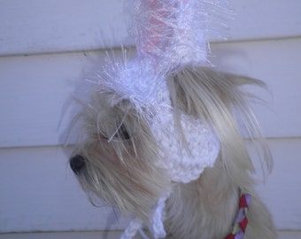 Crocheted Easter Bunny Ears Hat for Dogs or Cats, Rabbit Ears for Pets
